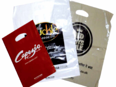 Patch handle printed carrier bags