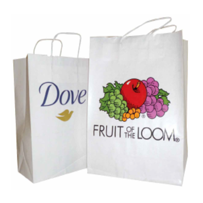White twisted paper handle printed carrier bags